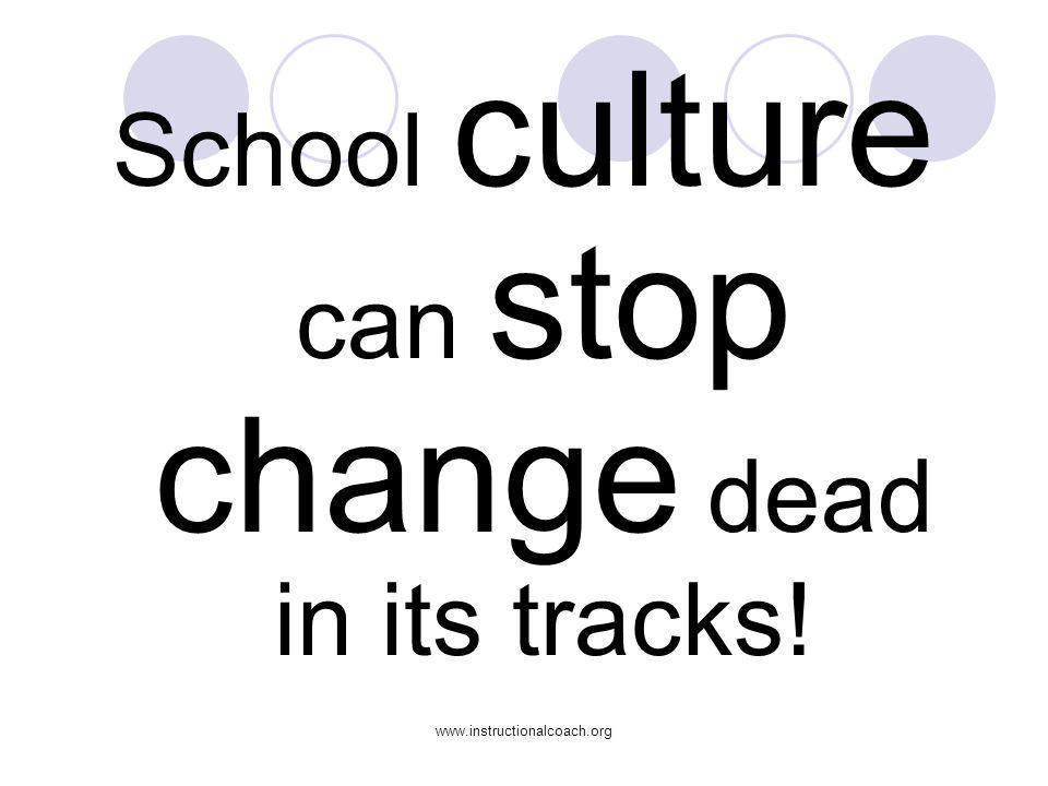 www.instructionalcoach.org School culture can stop change dead in its tracks!