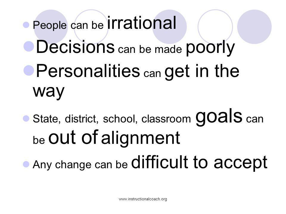 www.instructionalcoach.org People can be irrational Decisions can be made poorly Personalities can get in the way State, district, school, classroom g