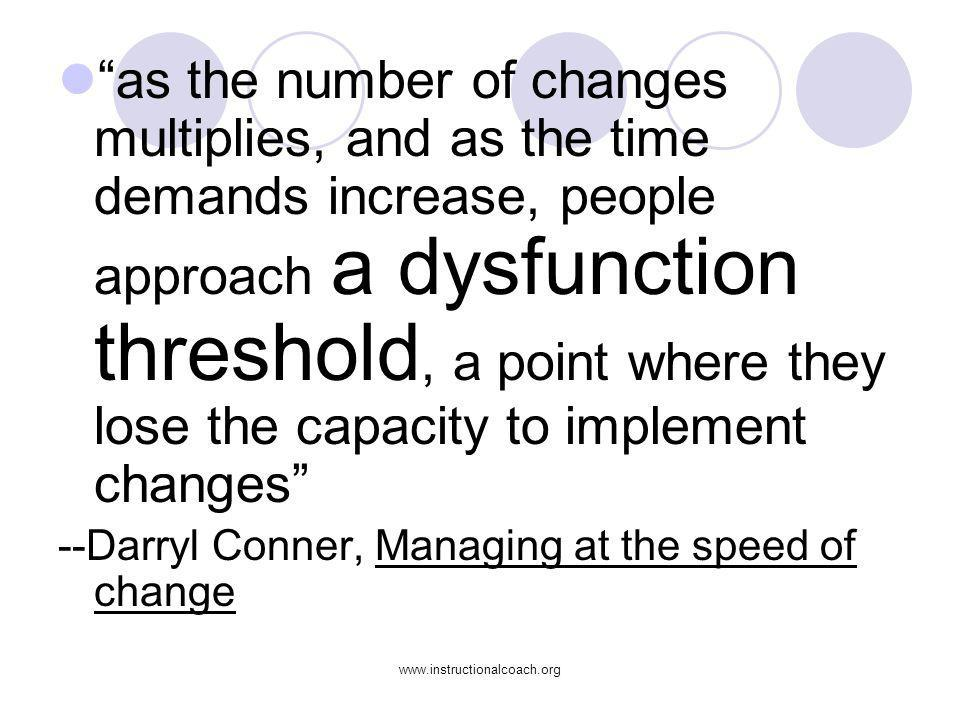 www.instructionalcoach.org as the number of changes multiplies, and as the time demands increase, people approach a dysfunction threshold, a point whe