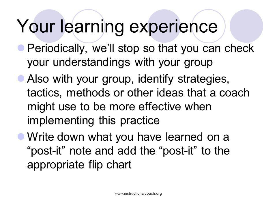 www.instructionalcoach.org Your learning experience Periodically, well stop so that you can check your understandings with your group Also with your g
