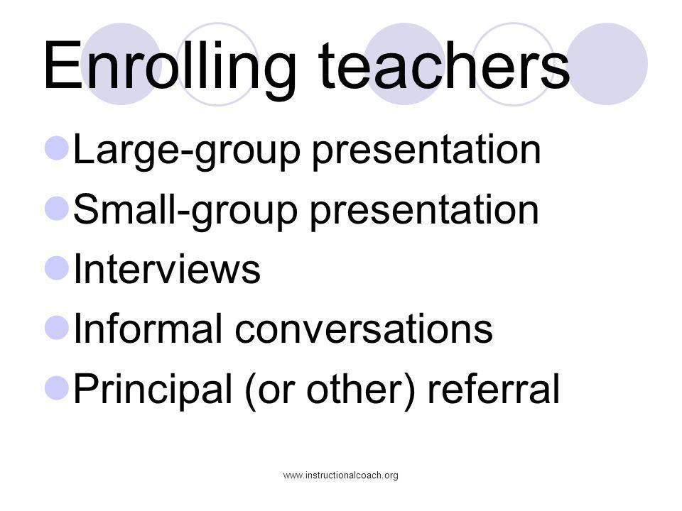 www.instructionalcoach.org Enrolling teachers Large-group presentation Small-group presentation Interviews Informal conversations Principal (or other)