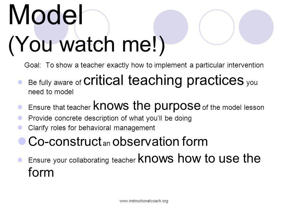 www.instructionalcoach.org Model (You watch me!) Goal: To show a teacher exactly how to implement a particular intervention Be fully aware of critical