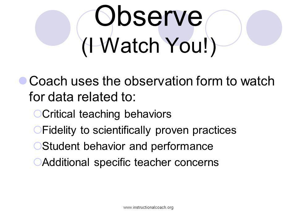 www.instructionalcoach.org Observe (I Watch You!) Coach uses the observation form to watch for data related to: Critical teaching behaviors Fidelity t