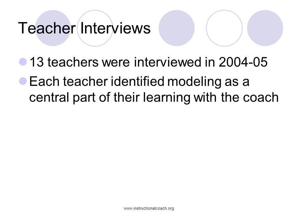 www.instructionalcoach.org Teacher Interviews 13 teachers were interviewed in 2004-05 Each teacher identified modeling as a central part of their lear