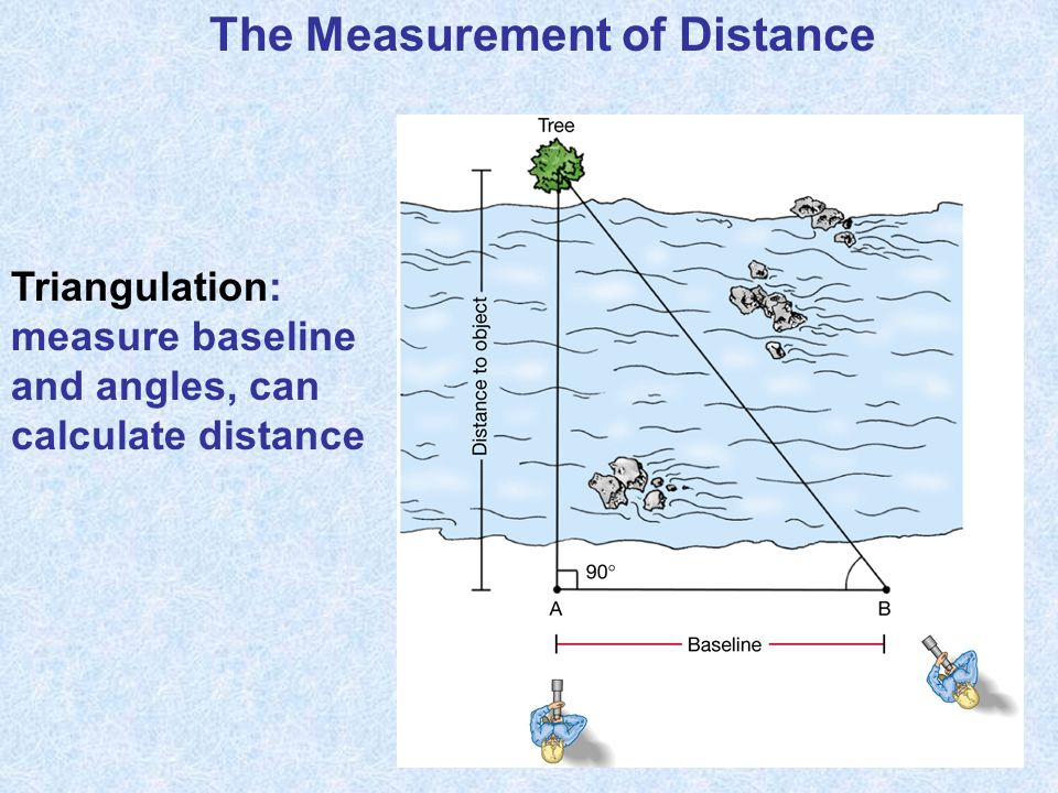 The Measurement of Distance Triangulation: measure baseline and angles, can calculate distance