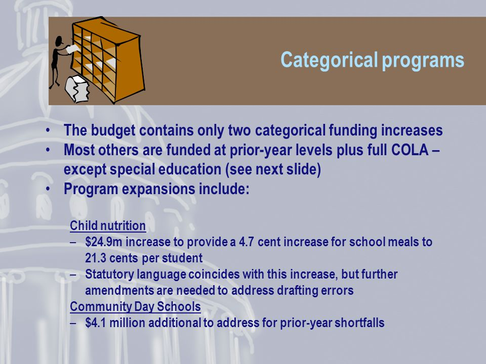 Categorical programs The budget contains only two categorical funding increases Most others are funded at prior-year levels plus full COLA – except special education (see next slide) Program expansions include: Child nutrition – $24.9m increase to provide a 4.7 cent increase for school meals to 21.3 cents per student – Statutory language coincides with this increase, but further amendments are needed to address drafting errors Community Day Schools – $4.1 million additional to address for prior-year shortfalls
