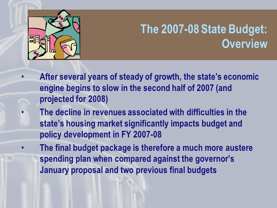Overview: Early predictions were wrong Nevertheless, early predictions were that the budget would be on time based on: 1.Lower revenues would stymie development of new policy initiatives 2.A pending initiative to reform term limits would be an incentive to look good and get it done on time 3.Some of last years so-called bi-partisan sentiments would trickle over to this year But we didnt factor that 14 Senate Republicans would hold up the process