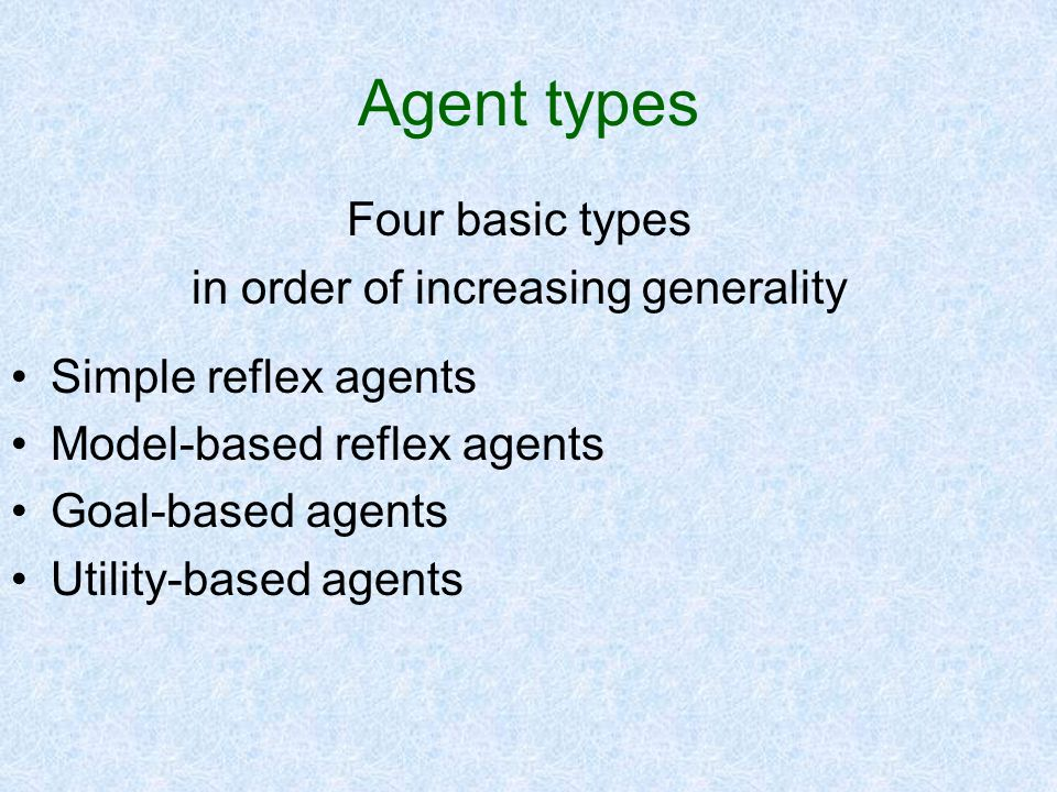 Agent types Four basic types in order of increasing generality Simple reflex agents Model-based reflex agents Goal-based agents Utility-based agents