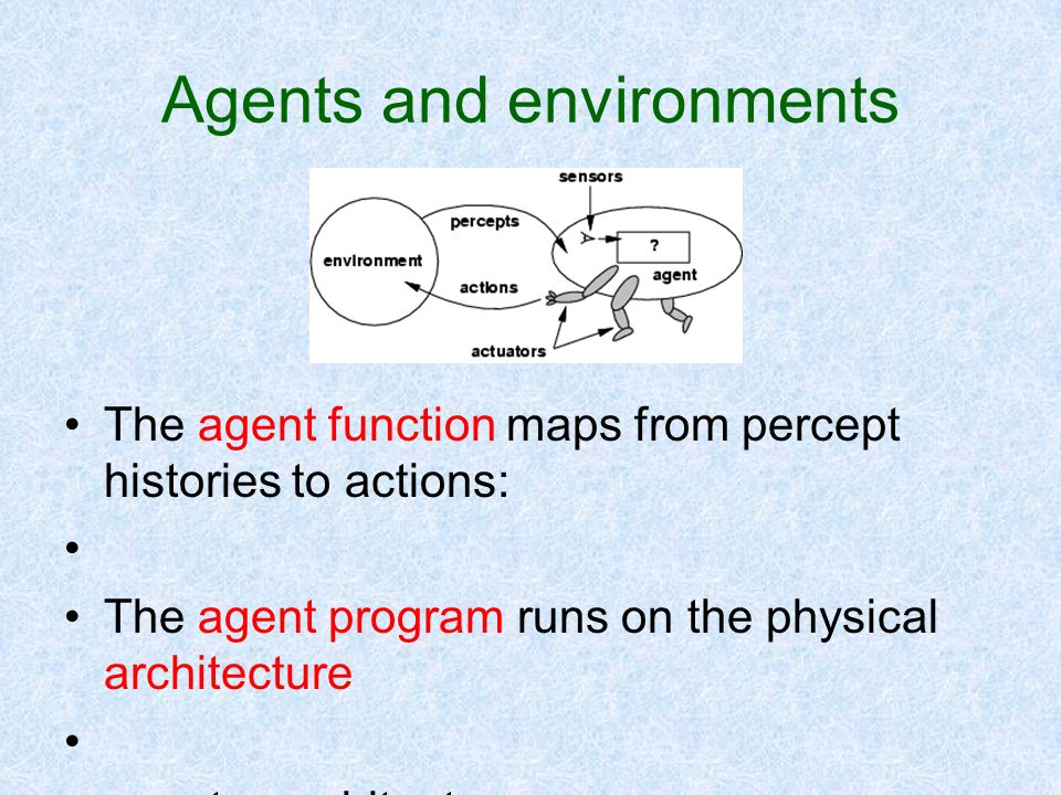 Agents and environments The agent function maps from percept histories to actions: The agent program runs on the physical architecture agent = archite