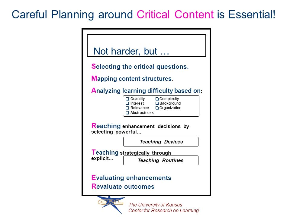 The University of Kansas Center for Research on Learning Careful Planning around Critical Content is Essential.