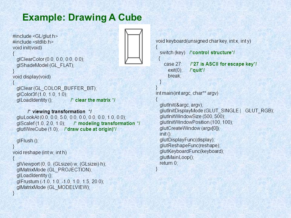 Example: Drawing A Cube #include void init(void) { glClearColor (0.0, 0.0, 0.0, 0.0); glShadeModel (GL_FLAT); } void display(void) { glClear (GL_COLOR