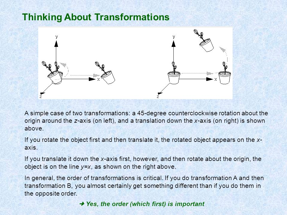Thinking About Transformations A simple case of two transformations: a 45-degree counterclockwise rotation about the origin around the z-axis (on left