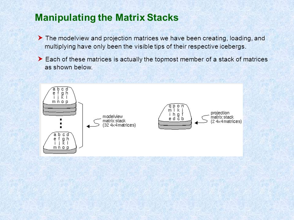 Manipulating the Matrix Stacks The modelview and projection matrices we have been creating, loading, and multiplying have only been the visible tips o