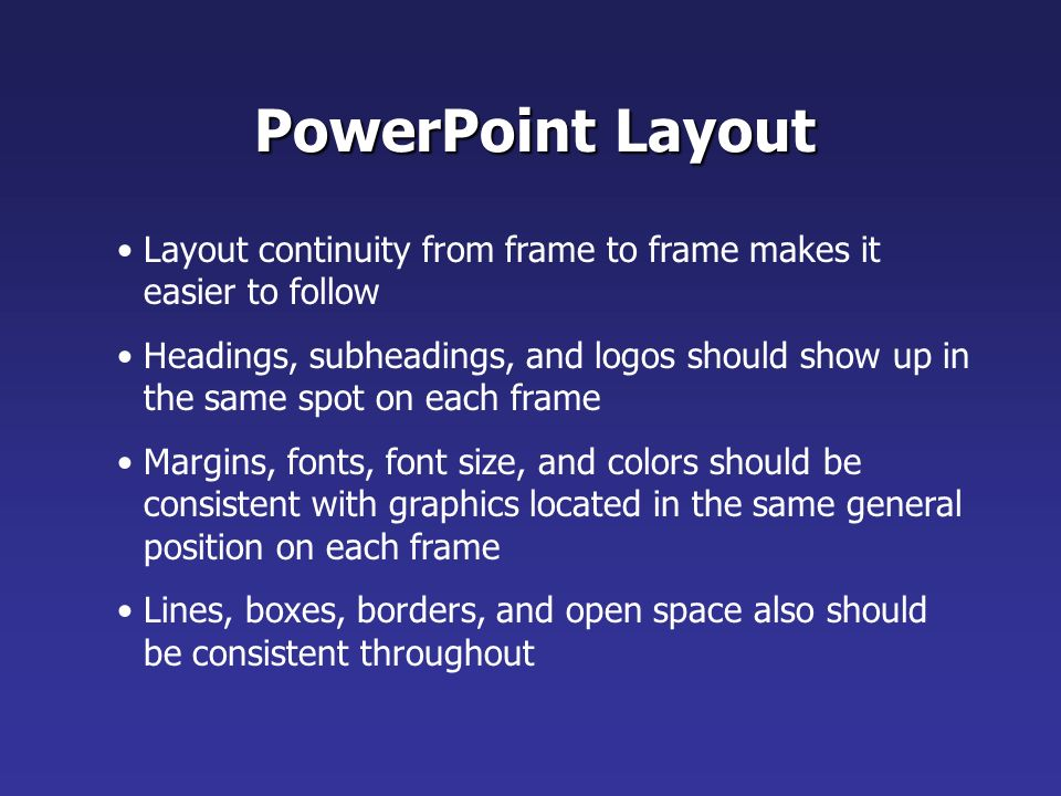 Highlight key points or reinforce what the facilitator is saying Should be short and to the point, include only key words and phases for visual reinforcement PowerPoint Slide