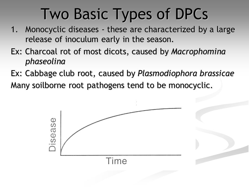 Two Basic Types of DPCs 1.Monocyclic diseases - these are characterized by a large release of inoculum early in the season.