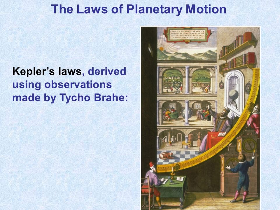 The Laws of Planetary Motion Keplers laws, derived using observations made by Tycho Brahe:
