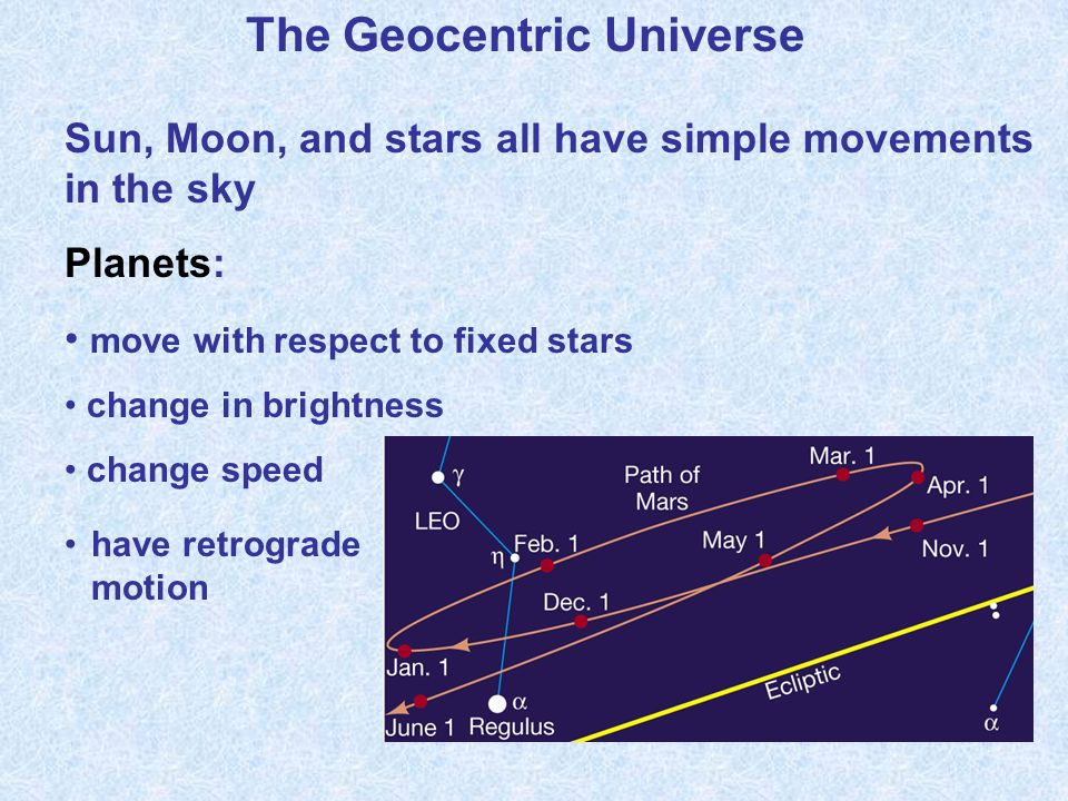 The Geocentric Universe Sun, Moon, and stars all have simple movements in the sky Planets: move with respect to fixed stars change in brightness change speed have retrograde motion