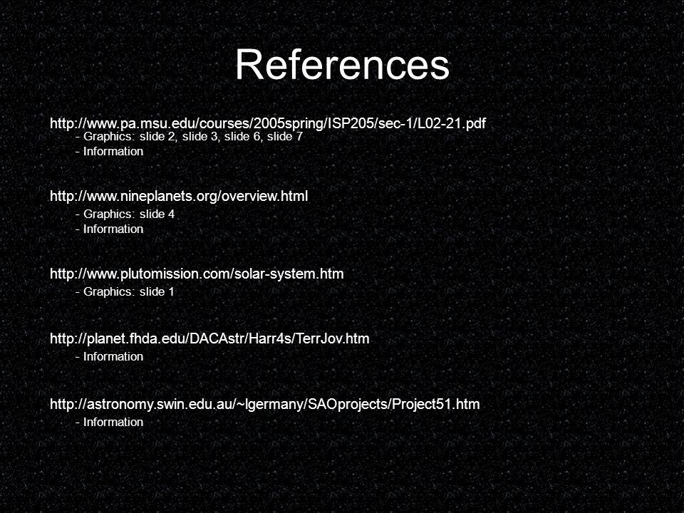 References http://www.pa.msu.edu/courses/2005spring/ISP205/sec-1/L02-21.pdf - Graphics: slide 2, slide 3, slide 6, slide 7 - Information http://www.ni