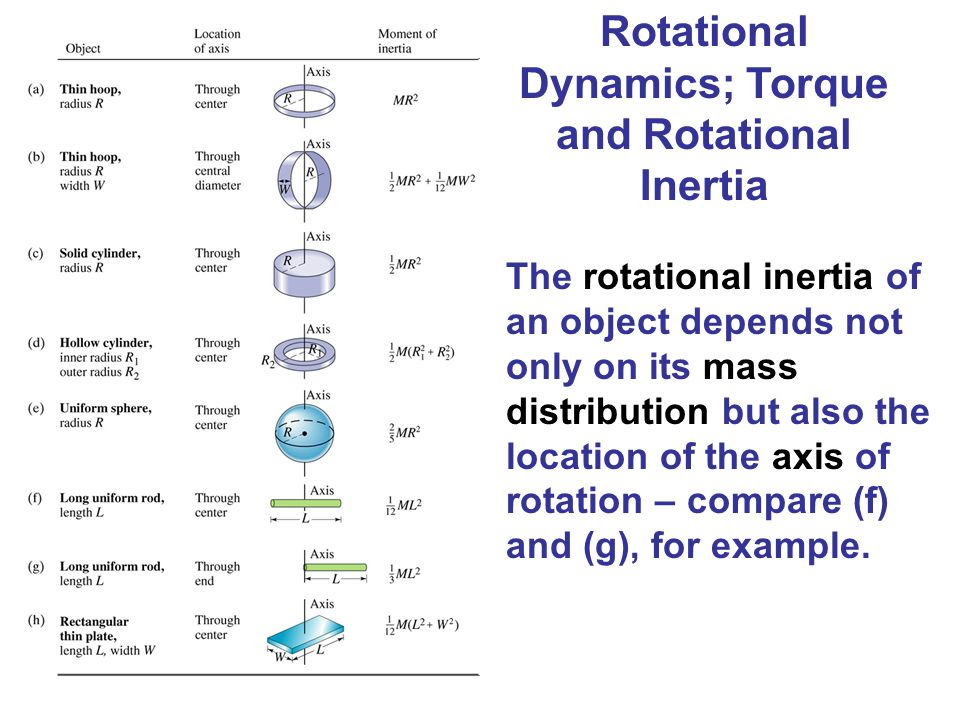 Rotational Dynamics; Torque and Rotational Inertia The rotational inertia of an object depends not only on its mass distribution but also the location