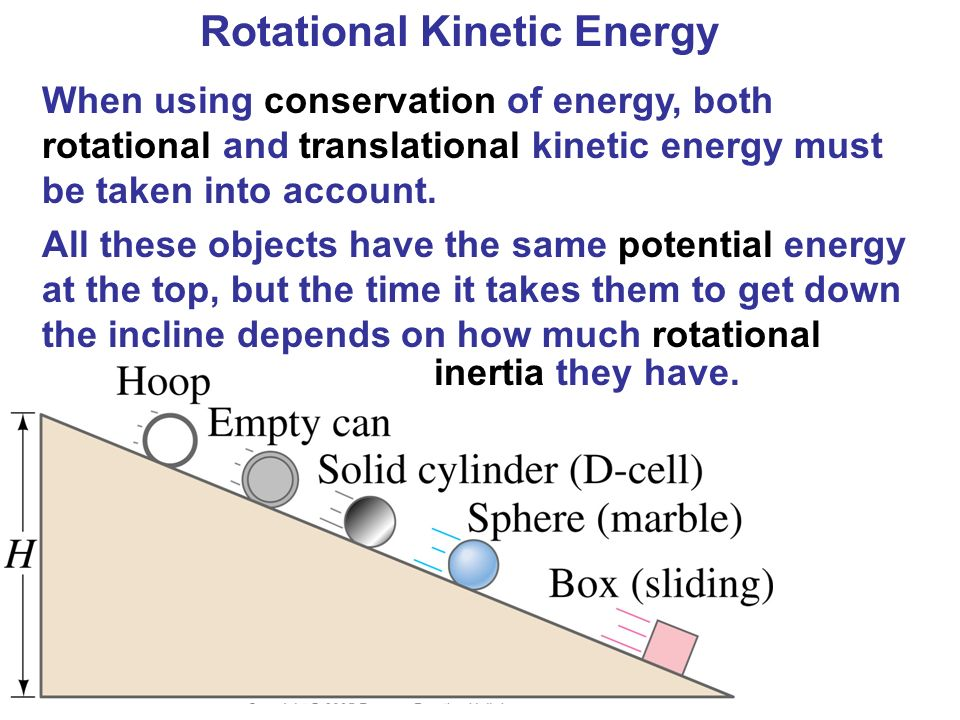 Rotational Kinetic Energy When using conservation of energy, both rotational and translational kinetic energy must be taken into account. All these ob