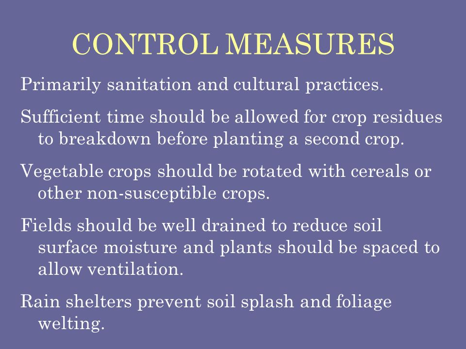 CONTROL MEASURES Primarily sanitation and cultural practices. Sufficient time should be allowed for crop residues to breakdown before planting a secon