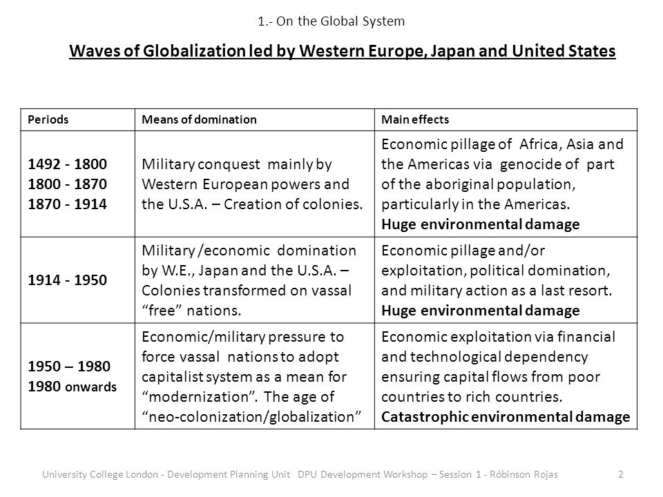 1.- On the Global System University College London - Development Planning Unit DPU Development Workshop – Session 1 - Róbinson Rojas2 Waves of Globalization led by Western Europe, Japan and United States Periods Means of dominationMain effects 1492 - 1800 1800 - 1870 1870 - 1914 Military conquest mainly by Western European powers and the U.S.A.