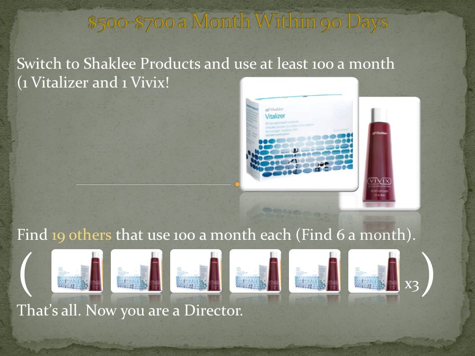 Switch to Shaklee Products and use at least 100 a month (1 Vitalizer and 1 Vivix.