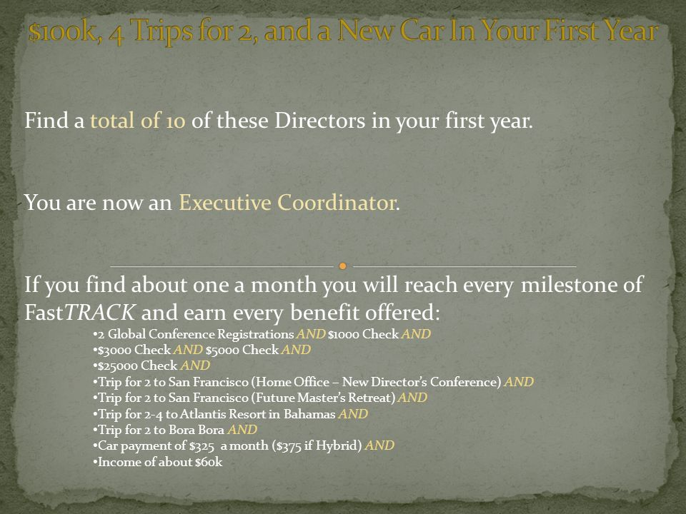 Find a total of 10 of these Directors in your first year.