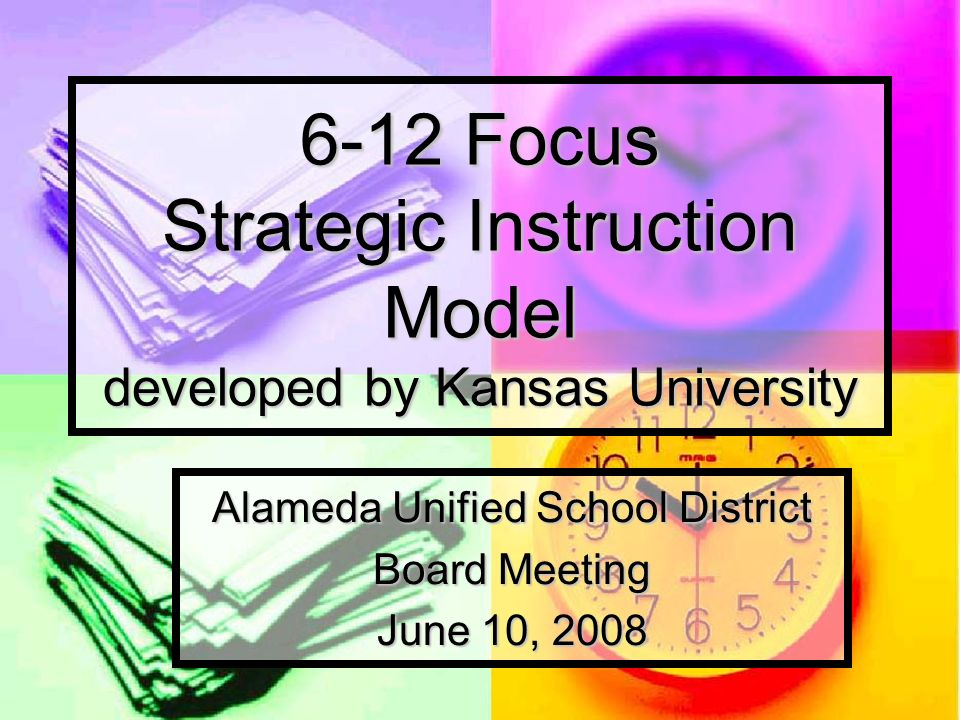 Strategic Instruction Model District-wide implementation in 07-08 90+ teachers participated in formal training Content Enhancement Content Enhancement FUSION Reading FUSION Reading Strategic Tutoring Strategic Tutoring Encinal Presentation