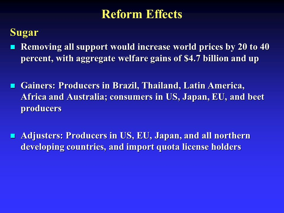 Reform Effects Sugar Removing all support would increase world prices by 20 to 40 percent, with aggregate welfare gains of $4.7 billion and up Removing all support would increase world prices by 20 to 40 percent, with aggregate welfare gains of $4.7 billion and up Gainers: Producers in Brazil, Thailand, Latin America, Africa and Australia; consumers in US, Japan, EU, and beet producers Gainers: Producers in Brazil, Thailand, Latin America, Africa and Australia; consumers in US, Japan, EU, and beet producers Adjusters: Producers in US, EU, Japan, and all northern developing countries, and import quota license holders Adjusters: Producers in US, EU, Japan, and all northern developing countries, and import quota license holders