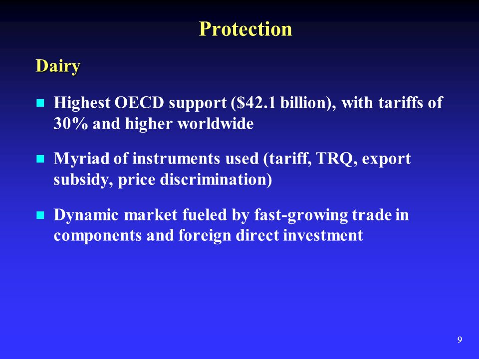 9 Protection Dairy Highest OECD support ($42.1 billion), with tariffs of 30% and higher worldwide Myriad of instruments used (tariff, TRQ, export subsidy, price discrimination) Dynamic market fueled by fast-growing trade in components and foreign direct investment