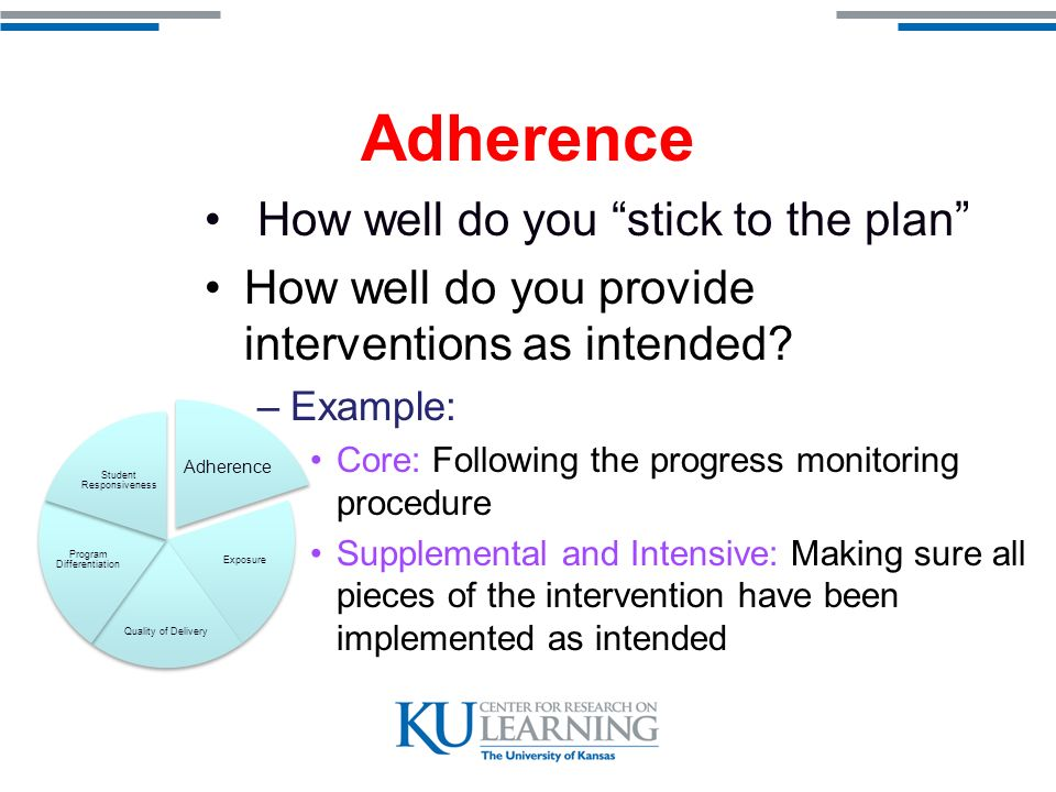 Adherence How well do you stick to the plan How well do you provide interventions as intended.