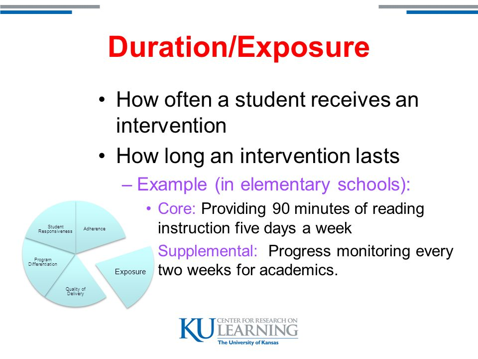 Duration/Exposure How often a student receives an intervention How long an intervention lasts –Example (in elementary schools): Core: Providing 90 minutes of reading instruction five days a week Supplemental: Progress monitoring every two weeks for academics.