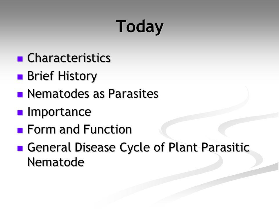 Today Characteristics Characteristics Brief History Brief History Nematodes as Parasites Nematodes as Parasites Importance Importance Form and Functio