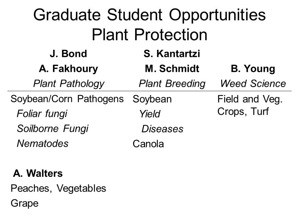 Graduate Student Opportunities Plant Protection J. Bond A. Fakhoury Plant Pathology S. Kantartzi M. Schmidt Plant Breeding B. Young Weed Science Soybe