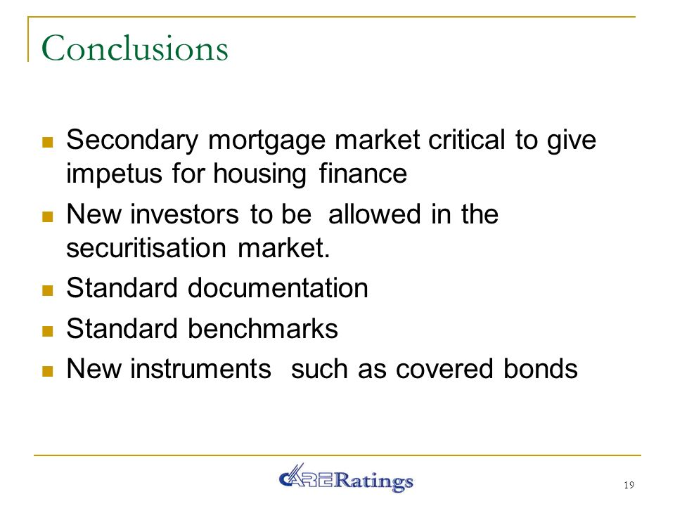 Conclusions Secondary mortgage market critical to give impetus for housing finance New investors to be allowed in the securitisation market.