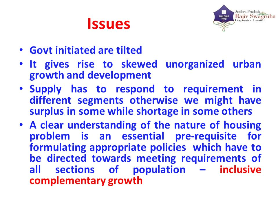 Issues Govt initiated are tilted It gives rise to skewed unorganized urban growth and development Supply has to respond to requirement in different se