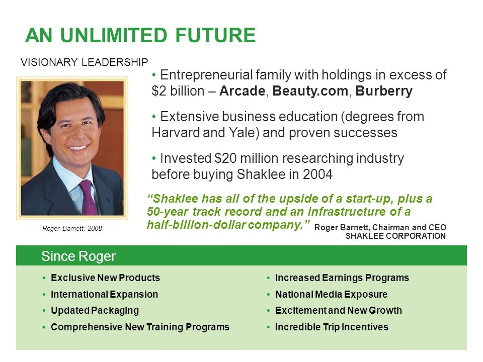 Shaklee has all of the upside of a start-up, plus a 50-year track record and an infrastructure of a half-billion-dollar company.