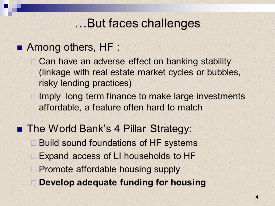 …But faces challenges Among others, HF : Can have an adverse effect on banking stability (linkage with real estate market cycles or bubbles, risky len