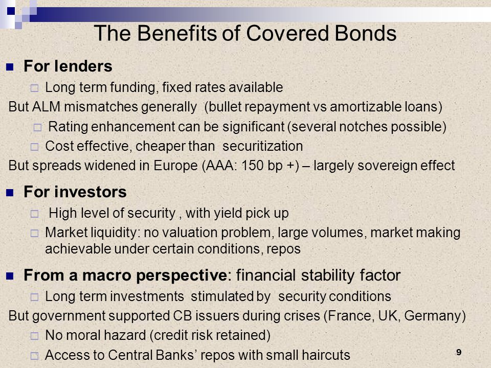 The Benefits of Covered Bonds For lenders Long term funding, fixed rates available But ALM mismatches generally (bullet repayment vs amortizable loans
