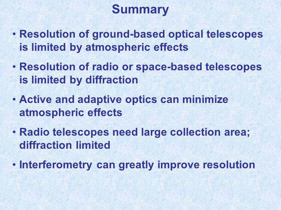 Summary Resolution of ground-based optical telescopes is limited by atmospheric effects Resolution of radio or space-based telescopes is limited by di