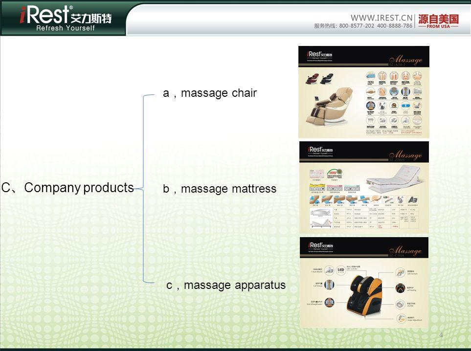 4 C Company products a massage chair b massage mattress c massage apparatus