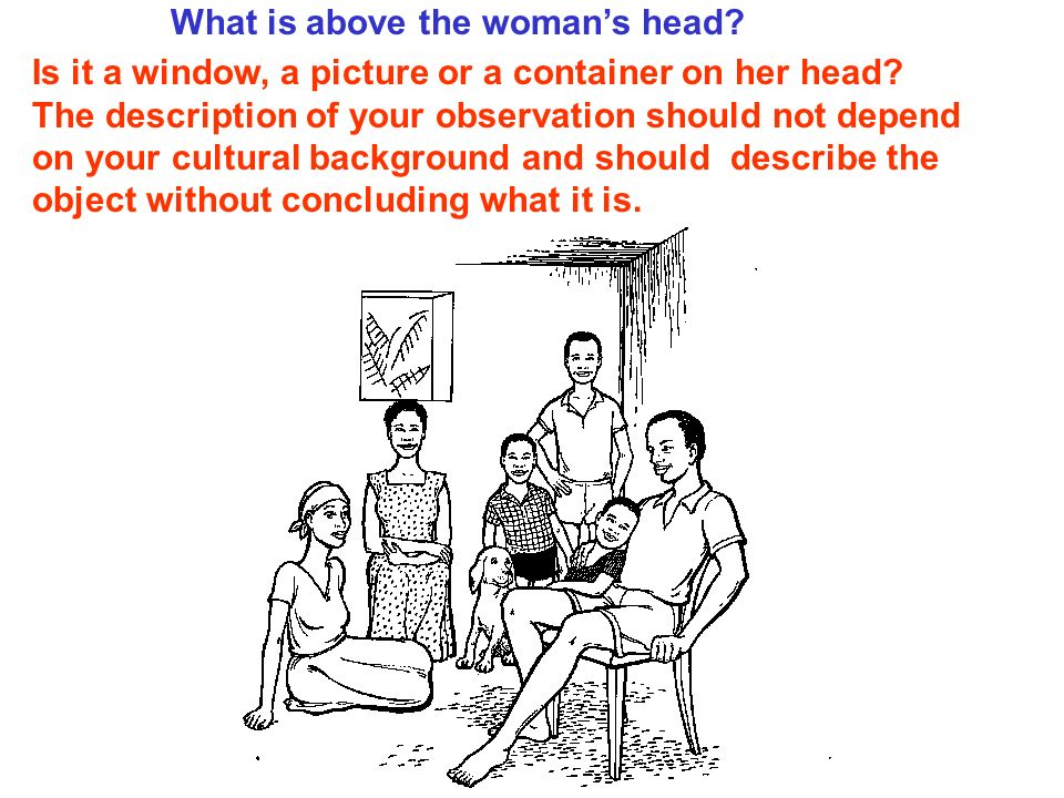 What is above the womans head. Is it a window, a picture or a container on her head.