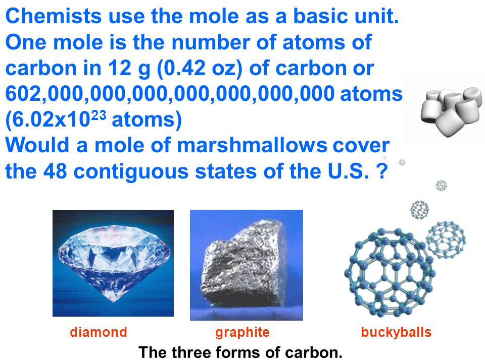 Chemists use the mole as a basic unit.