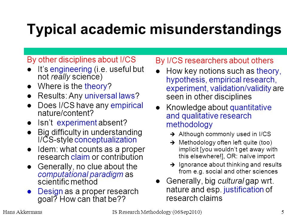 Hans AkkermansIS Research Methodology (06Sep2010)5 Typical academic misunderstandings By other disciplines about I/CS Its engineering (i.e.