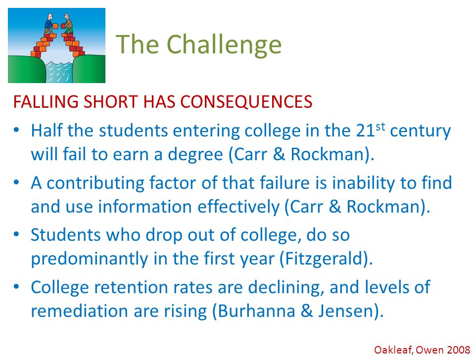 Oakleaf, Owen 2008 The Challenge FALLING SHORT HAS CONSEQUENCES Half the students entering college in the 21 st century will fail to earn a degree (Carr & Rockman).