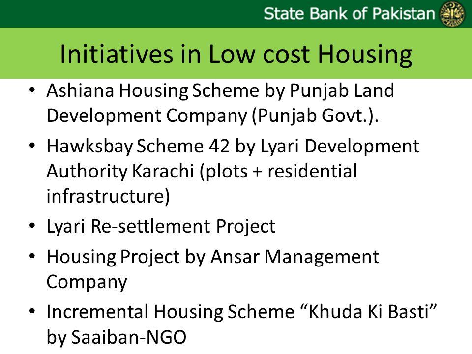 Initiatives in Low cost Housing Ashiana Housing Scheme by Punjab Land Development Company (Punjab Govt.). Hawksbay Scheme 42 by Lyari Development Auth
