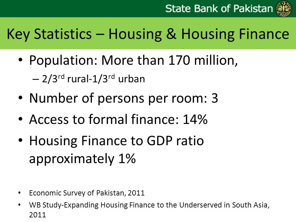 Key Statistics – Housing & Housing Finance Population: More than 170 million, – 2/3 rd rural-1/3 rd urban Number of persons per room: 3 Access to formal finance: 14% Housing Finance to GDP ratio approximately 1% Economic Survey of Pakistan, 2011 WB Study-Expanding Housing Finance to the Underserved in South Asia, 2011