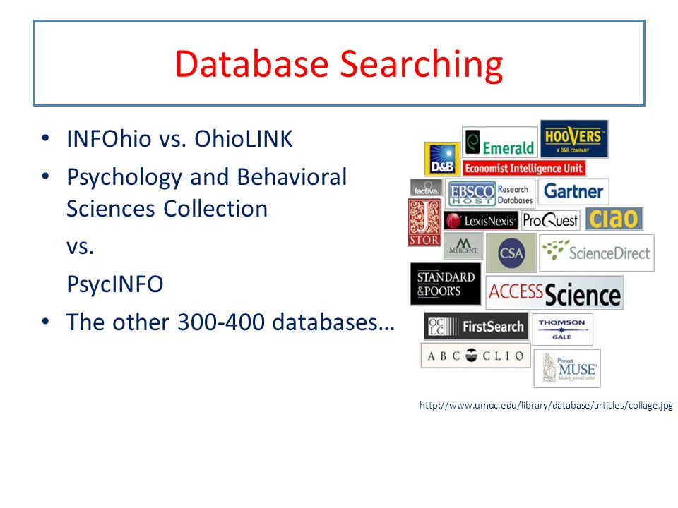 Database Searching INFOhio vs. OhioLINK Psychology and Behavioral Sciences Collection vs. PsycINFO The other 300-400 databases… http://www.umuc.edu/li