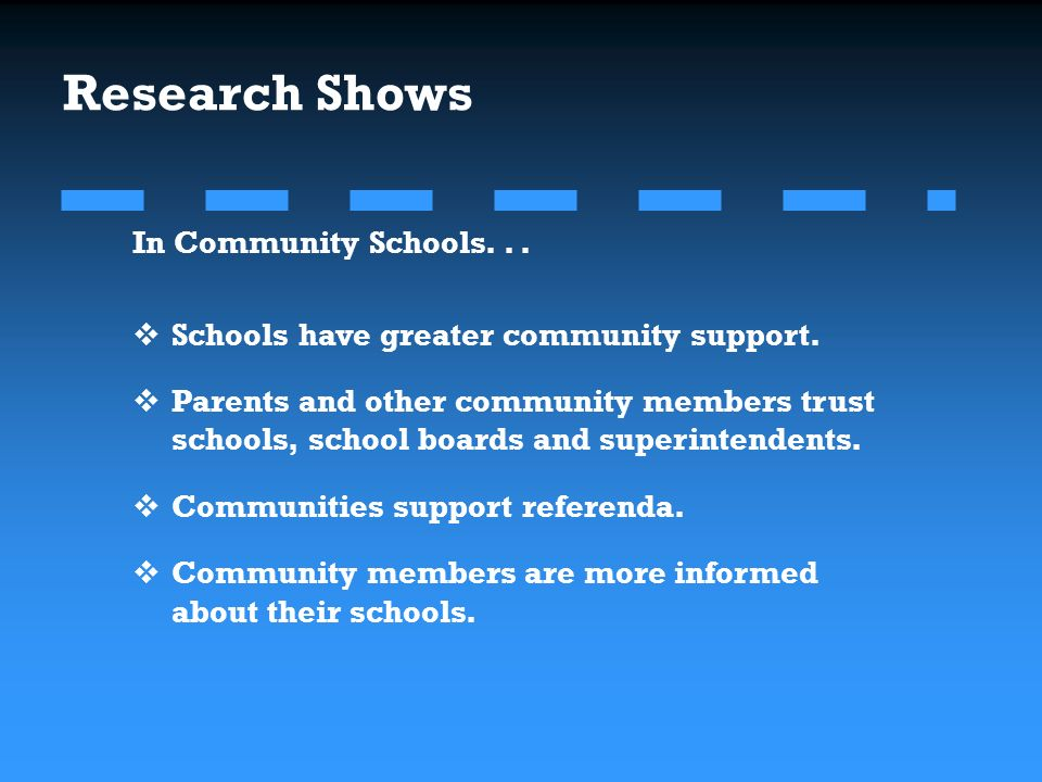 Research Shows In Community Schools... Schools have greater community support.